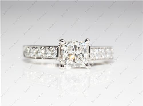 Platinum 1.01 Radiant cut Channel Set Rings
