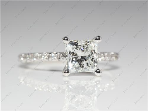 White Gold 1.12 Princess cut Bridal Wedding Sets