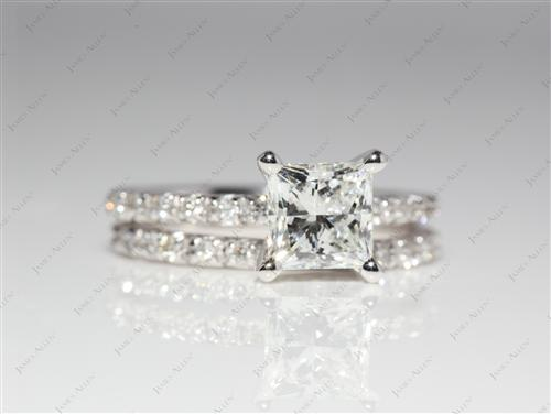 White Gold 1.12 Princess cut Wedding Sets