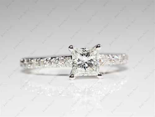 White Gold 0.57 Princess cut Pave Diamond Rings