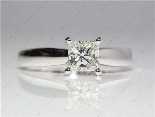 White Gold 1.11 Princess cut Diamond Solitaire Ring Settings