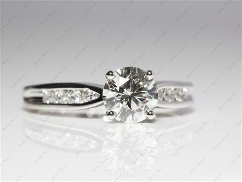 Platinum 1.35 Round cut Channel Engagement Ring