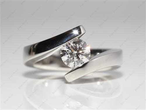 Platinum 1.01 Round cut Tension Set Engagement Ring