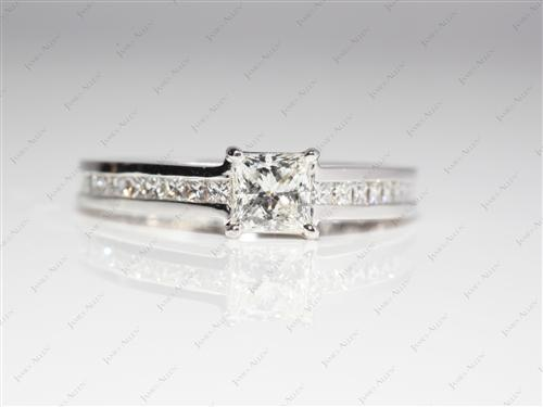 White Gold 0.50 Princess cut Channel Set Engagement Rings