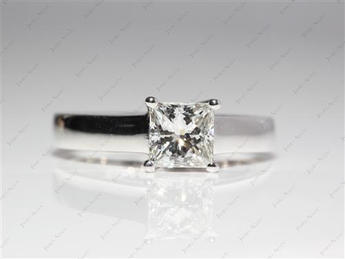 White Gold 1.03 Princess cut Solitaire Ring