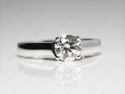 White Gold 0.80 Round cut Solitaire Engagement Ring
