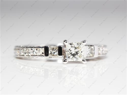White Gold 0.51 Princess cut Pave Diamond Engagement Rings