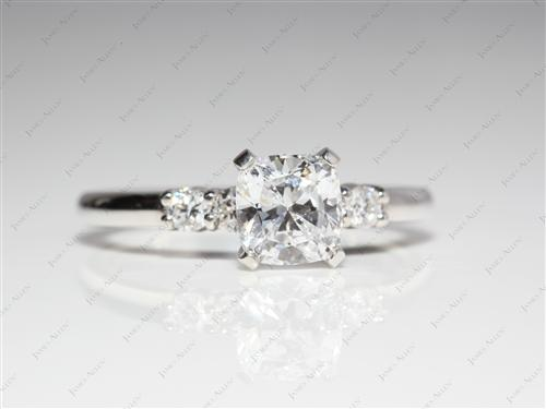 Platinum 1.05 Cushion cut Engagement Rings With Side Stones