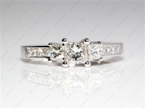 White Gold 0.50 Princess cut Diamond Ring With Side Stones