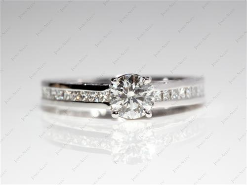 White Gold 0.51 Round cut Channel Set Diamond Rings