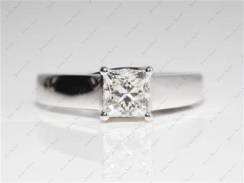 White Gold 1.03 Princess cut Diamond Solitaire Engagement Ring