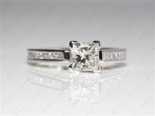Platinum 1.01 Princess cut Channel Set Diamond Rings