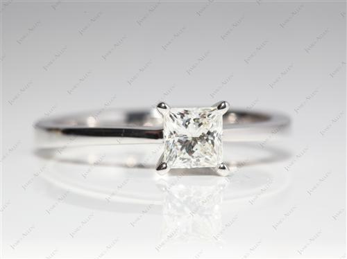 White Gold 0.66 Princess cut Solitaire Rings