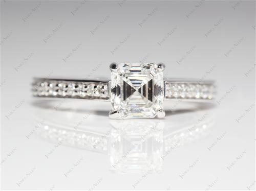 White Gold 0.92 Asscher cut Pave Setting Rings
