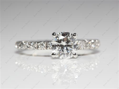 Platinum 0.90 Round cut Pave Rings