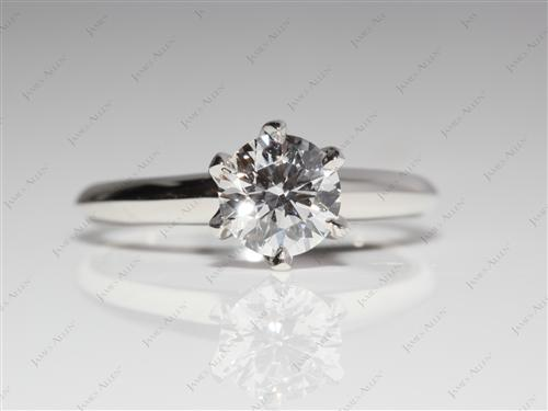 Platinum 0.74 Round cut Engagement Ring