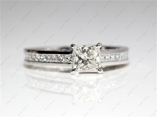 Platinum 0.72 Princess cut Diamond Channel Ring
