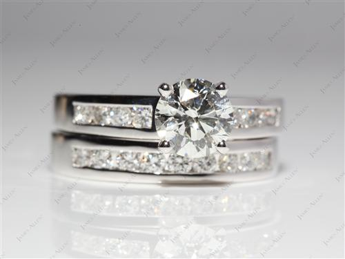 White Gold 1.24 Round cut Engagement And Wedding Ring Sets