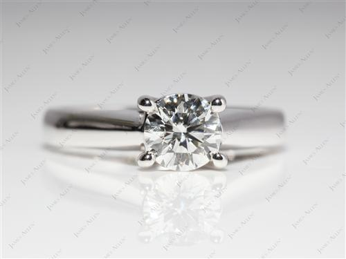 White Gold 0.76 Round cut Round Solitaire Ring