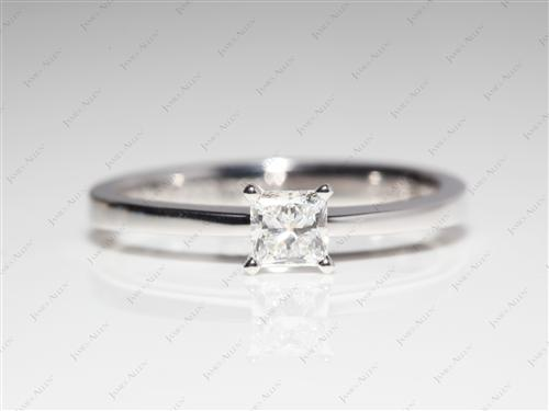 White Gold 0.42 Princess cut Solitaire Ring Mountings