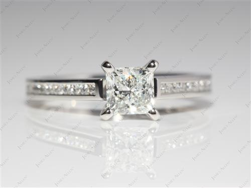 Platinum 0.90 Princess cut Solitaire Diamond Rings