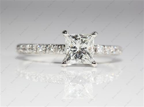 Platinum 1.24 Princess cut Engagement Rings Pave