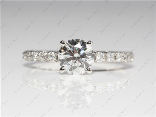 Platinum 1.08 Round cut Engagement Rings Pave