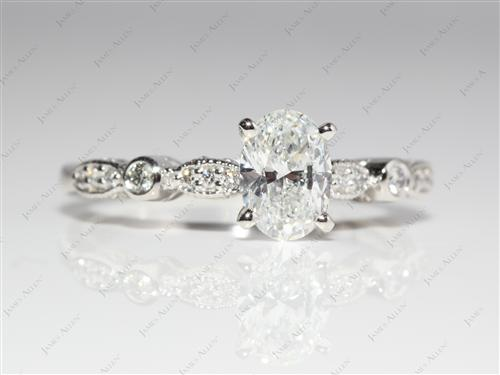 Platinum 1.01 Oval cut Diamond Ring