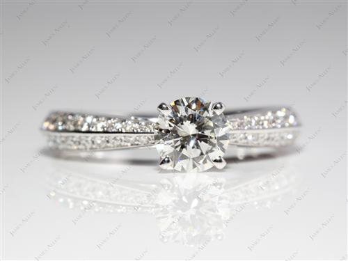 White Gold 0.80 Round cut Diamond Pave Ring