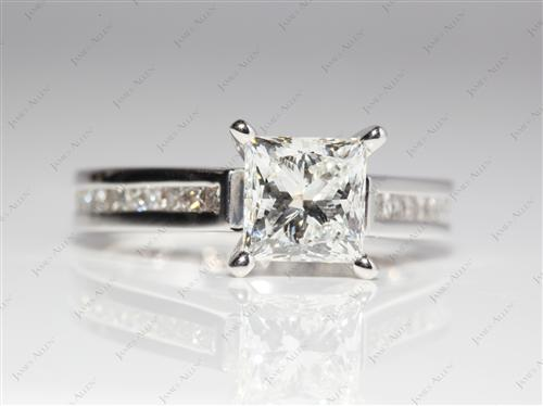 White Gold 1.52 Princess cut Channel Engagement Rings