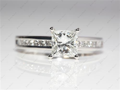 Platinum 1.28 Princess cut Channel Set Diamond Engagement Ring