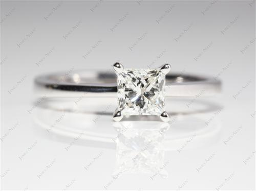 White Gold 0.73 Princess cut Diamond Solitaire Rings