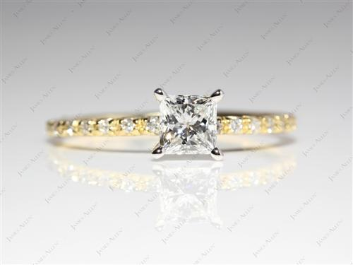Gold 0.70 Princess cut White Gold Wedding Sets