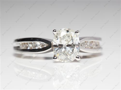 White Gold 1.12 Oval cut Channel Set Engagement Rings