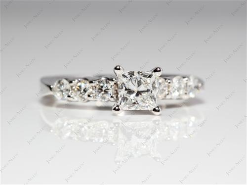 White Gold 0.57 Princess cut Side Stone Engagement Ring