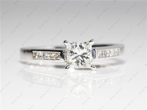 White Gold 0.72 Princess cut Channel Engagement Rings