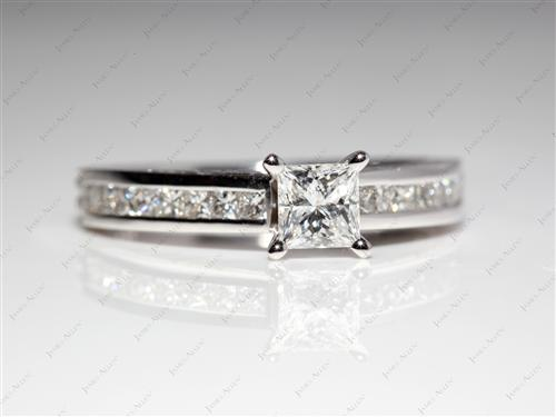 White Gold 0.56 Princess cut Channel Diamond Ring