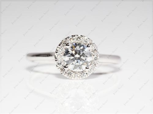 White Gold 0.61 Round cut Engagement Rings Pave