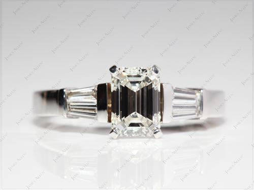 White Gold 1.23 Emerald cut Engagement Ring Side Stones