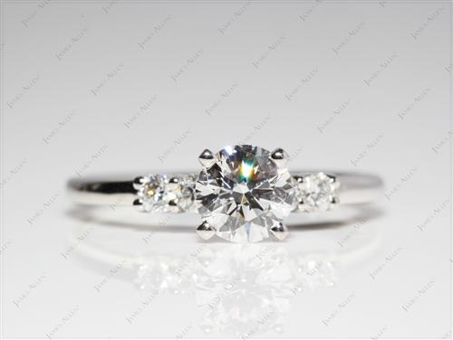 Platinum 0.75 Round cut Engagement Rings