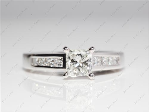 Platinum 1.01 Princess cut Engagement And Wedding Ring Sets