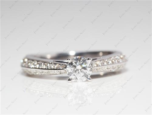 White Gold 0.30 Round cut Engagement Ring