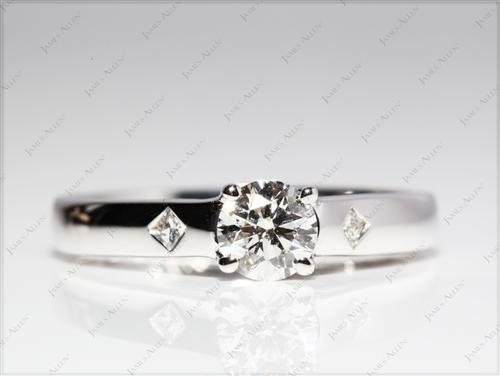 White Gold 0.51 Round cut Diamond Solitaire Engagement Ring
