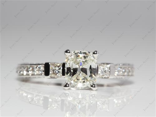 White Gold 1.17 Cushion cut Pave Ring Mountings