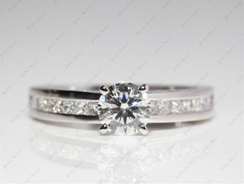 Platinum 0.77 Round cut Channel Set Diamond Rings