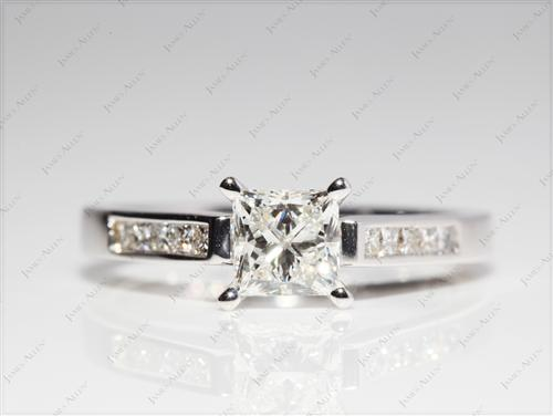 White Gold 0.90 Princess cut Channel Set Diamond Rings