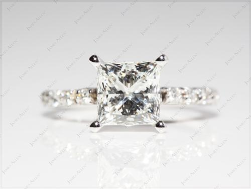 White Gold 1.72 Princess cut Engagement Rings