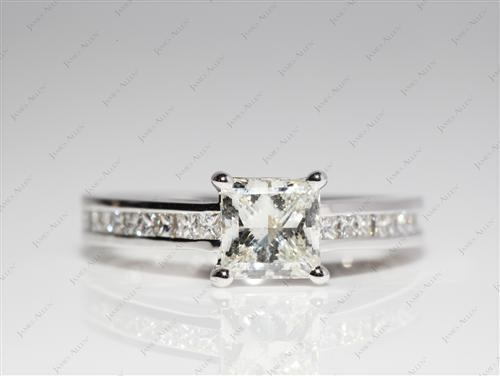White Gold 1.03 Princess cut Channel Set Rings