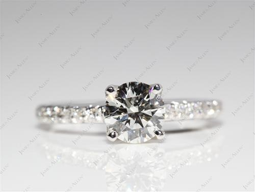 White Gold 0.78 Round cut Engagement Rings Pave
