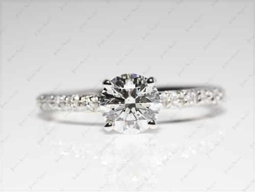 Platinum 1.23 Round cut Pave Diamond Ring